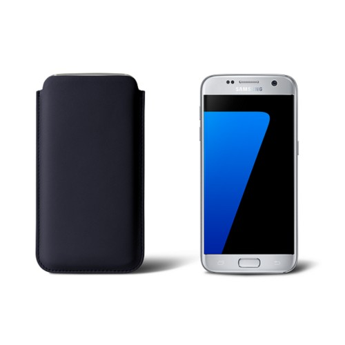 Sleeve for Samsung Galaxy S7 - Navy Blue - Smooth Leather