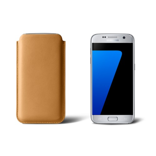 Sleeve for Samsung Galaxy S7 - Natural - Smooth Leather