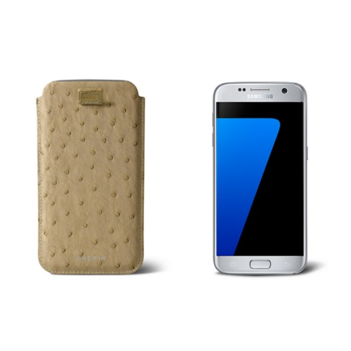 Pull-up strap case for Galaxy S7 - Beige - Real Ostrich Leather
