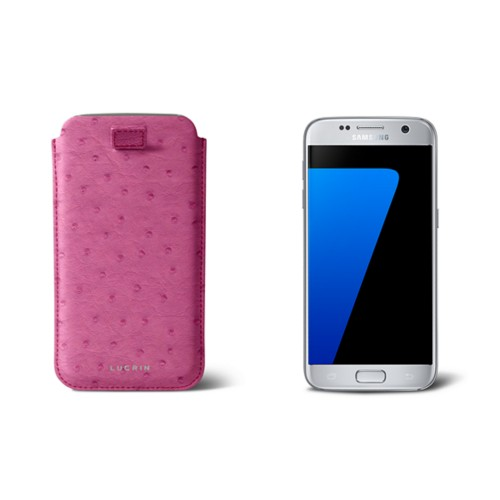 Pull-up strap case for Galaxy S7 - Fuchsia  - Real Ostrich Leather