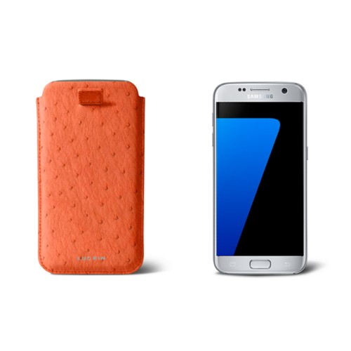 Pull-up strap case for Galaxy S7 - Orange - Real Ostrich Leather