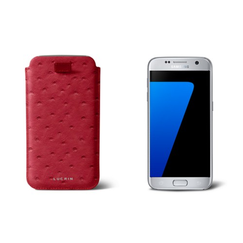 Pull-up strap case for Galaxy S7 - Red - Real Ostrich Leather