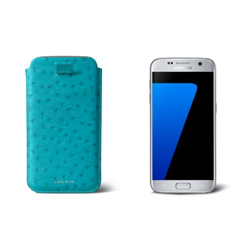 Pull-up strap case for Galaxy S7 - Turquoise - Real Ostrich Leather