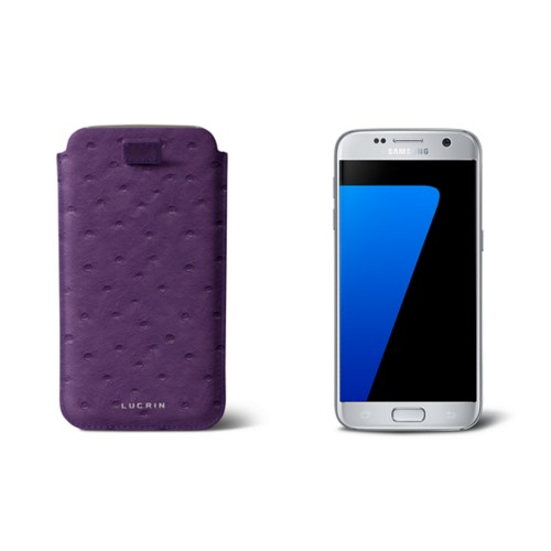 Pull-up strap case for Galaxy S7 - Purple - Real Ostrich Leather