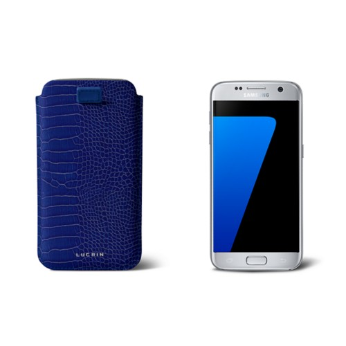 Pull-up strap case for Galaxy S7 - Royal Blue - Crocodile style calfskin