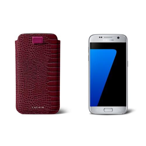 Pull-up strap case for Galaxy S7 - Fuchsia  - Crocodile style calfskin