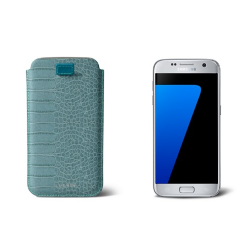 Pull-up strap case for Galaxy S7 - Turquoise - Crocodile style calfskin