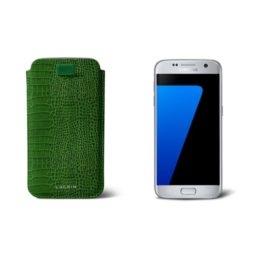 Pull-up strap case for Galaxy S7 - Light Green - Crocodile style calfskin