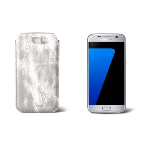 Pull-up strap case for Galaxy S7 - Silver - Metallic Leather