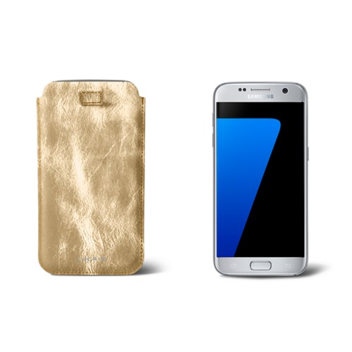 Pull-up strap case for Galaxy S7 - Golden - Metallic Leather