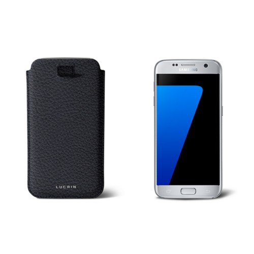 Pull-up strap case for Galaxy S7 - Navy Blue - Granulated Leather