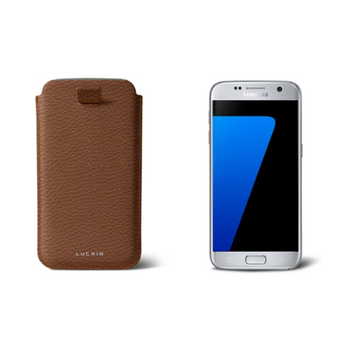 Pull-up strap case for Galaxy S7 - Tan - Granulated Leather