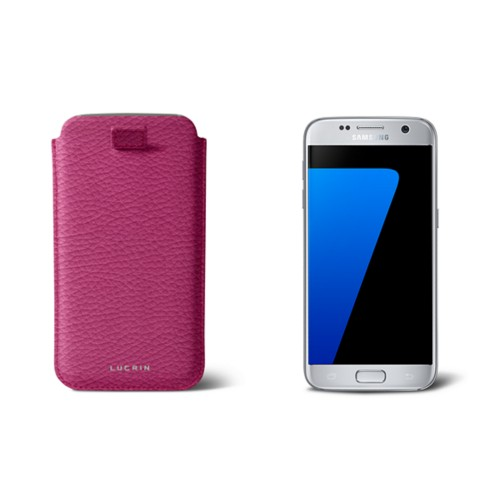 Pull-up strap case for Galaxy S7 - Fuchsia  - Granulated Leather