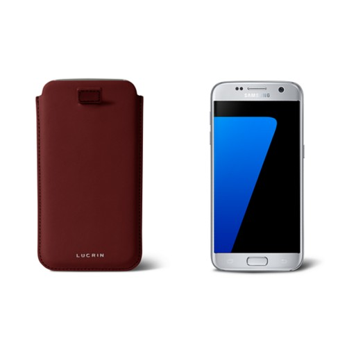 Pull-up strap case for Galaxy S7 - Burgundy - Smooth Leather