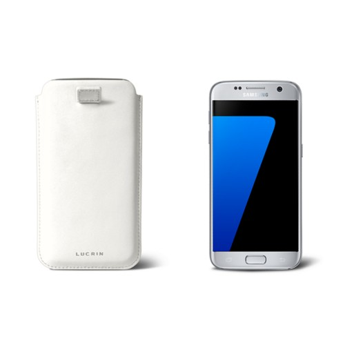 Pull-up strap case for Galaxy S7 - White - Smooth Leather