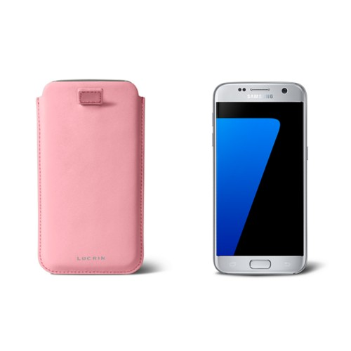 Pull-up strap case for Galaxy S7 - Pink - Smooth Leather