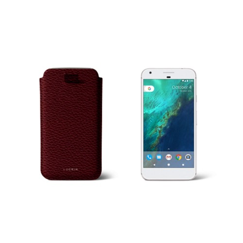 Google Pixel Case with pull-up strap - Burgundy - Granulated Leather