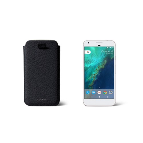 Google Pixel Case with pull-up strap - Navy Blue - Granulated Leather