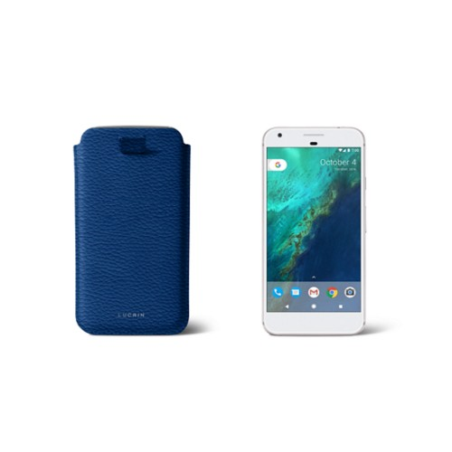 Google Pixel Case with pull-up strap - Royal Blue - Granulated Leather