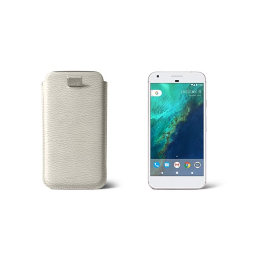 Google Pixel Case with pull-up strap - Off-White - Granulated Leather