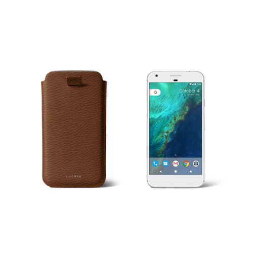 Google Pixel Case with pull-up strap - Tan - Granulated Leather