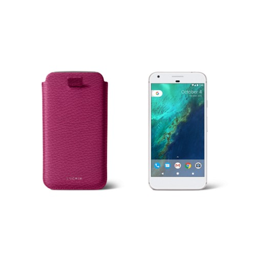 Google Pixel Case with pull-up strap - Fuchsia  - Granulated Leather