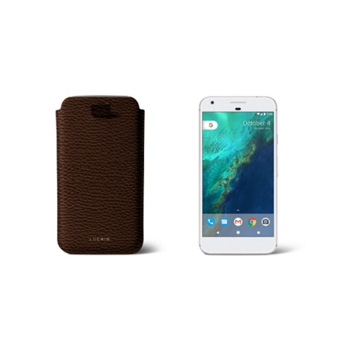 Google Pixel Case with pull-up strap - Brown - Granulated Leather