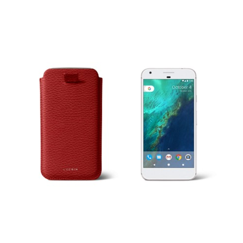 Google Pixel Case with pull-up strap - Red - Granulated Leather