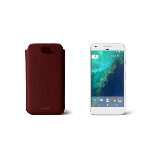 Google Pixel Case with pull-up strap - Burgundy - Smooth Leather