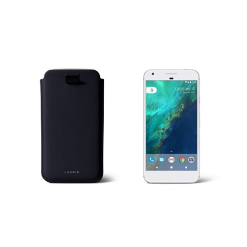 Google Pixel Case with pull-up strap - Navy Blue - Smooth Leather