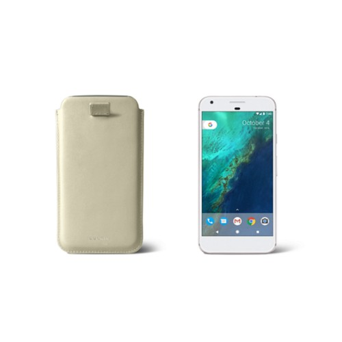 Google Pixel Case with pull-up strap - Off-White - Smooth Leather