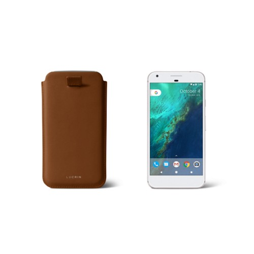 Google Pixel Case with pull-up strap - Tan - Smooth Leather