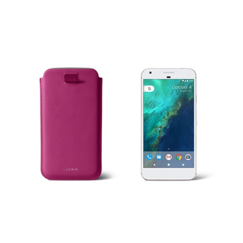 Google Pixel Case with pull-up strap - Fuchsia  - Smooth Leather