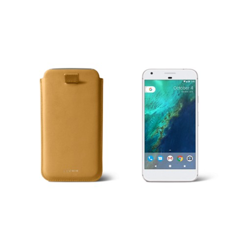 Google Pixel Case with pull-up strap - Mustard Yellow - Smooth Leather