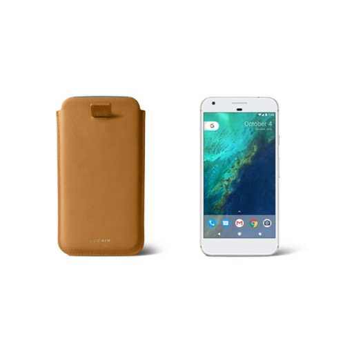 Google Pixel Case with pull-up strap - Natural - Smooth Leather
