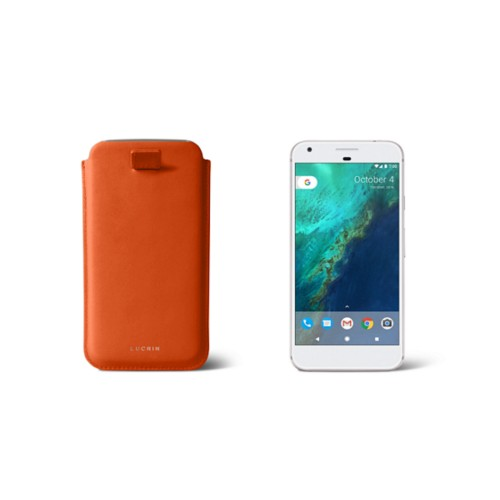 Google Pixel Case with pull-up strap - Orange - Smooth Leather