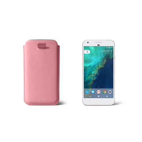 Google Pixel Case with pull-up strap - Pink - Smooth Leather