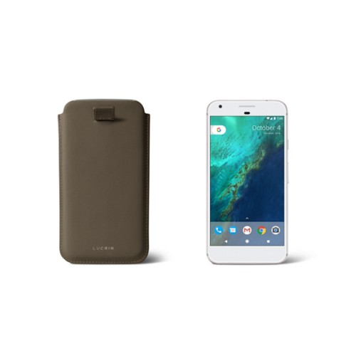 Google Pixel Case with pull-up strap - Dark Taupe - Smooth Leather