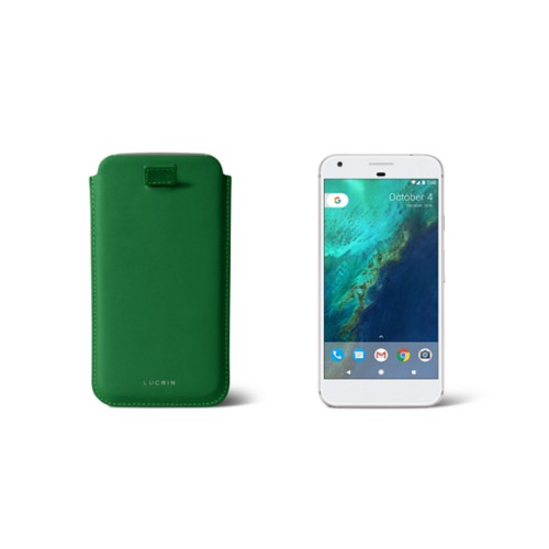 Google Pixel Case with pull-up strap - Light Green - Smooth Leather