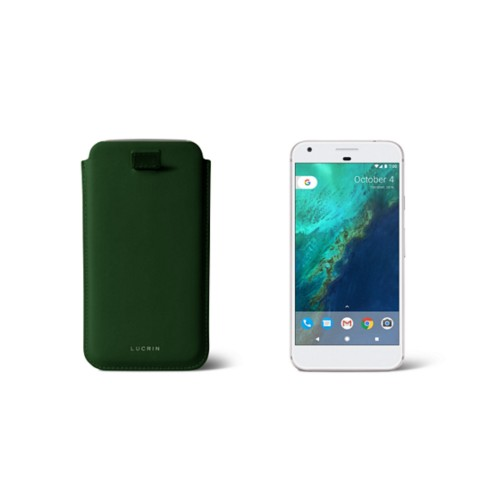 Google Pixel Case with pull-up strap - Dark Green - Smooth Leather