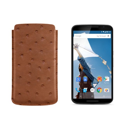 Sleeve for Motorola Nexus 6 - Tan - Real Ostrich Leather
