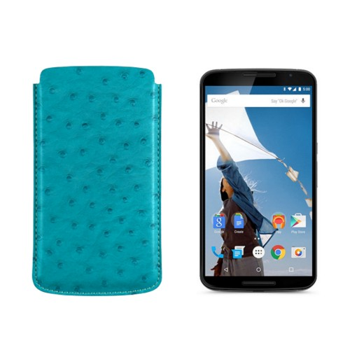 Sleeve for Motorola Nexus 6 - Turquoise - Real Ostrich Leather