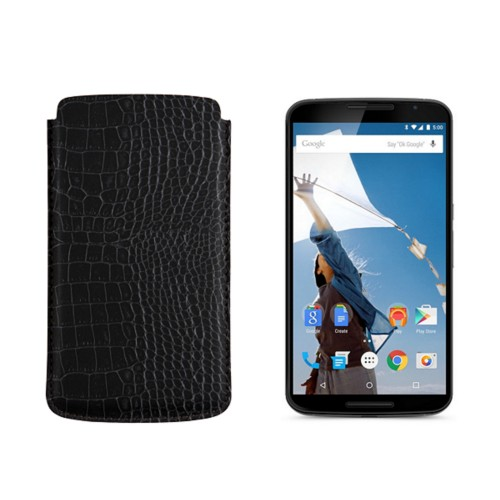 Sleeve for Motorola Nexus 6 - Black - Crocodile style calfskin