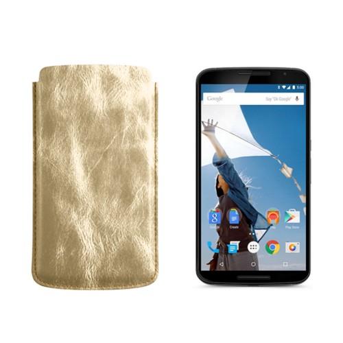 Sleeve for Motorola Nexus 6 - Golden - Metallic Leather