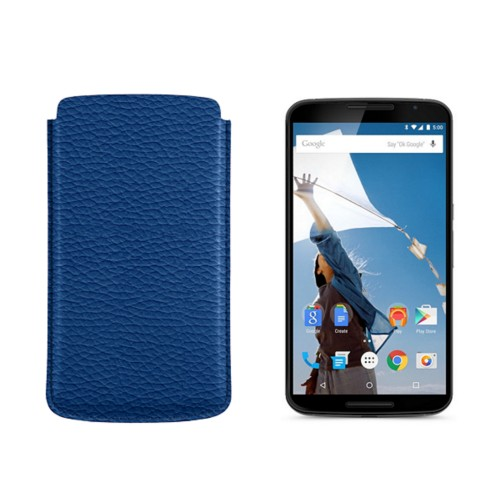Sleeve for Motorola Nexus 6 - Royal Blue - Granulated Leather