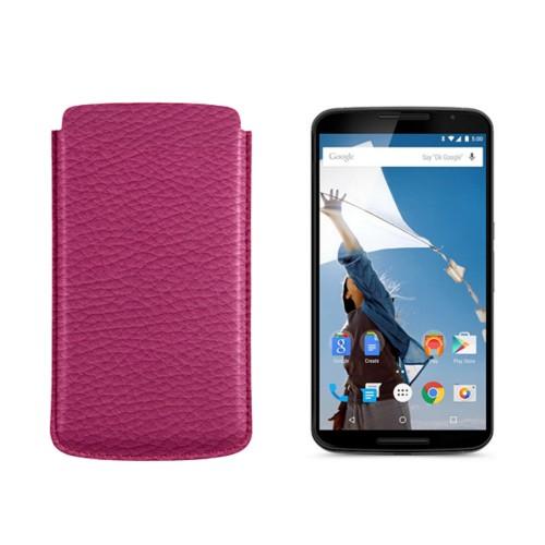 Etui Google Nexus 6 Motorola - Fuchsia  - Granulated Leather