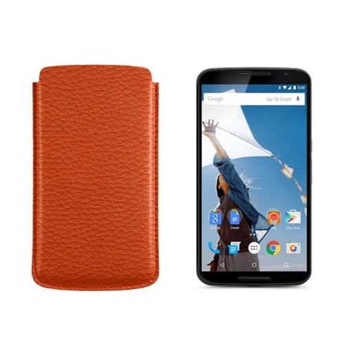 Sleeve for Motorola Nexus 6 - Orange - Granulated Leather