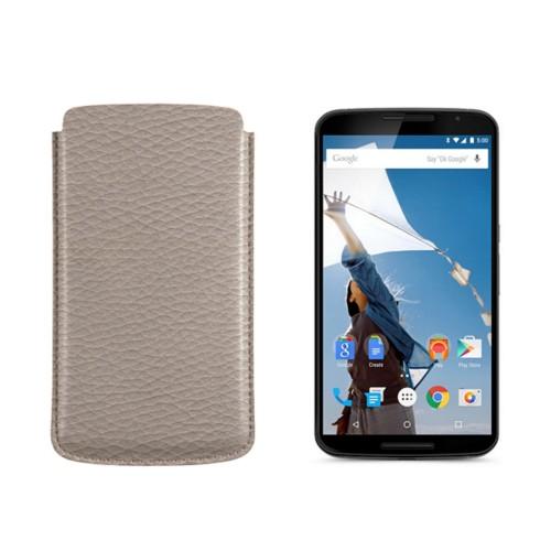 Sleeve for Motorola Nexus 6 - Light Taupe - Granulated Leather