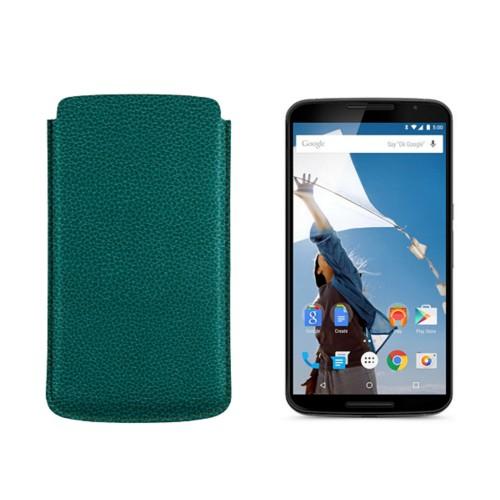 Sleeve for Motorola Nexus 6 - Sea Green - Granulated Leather