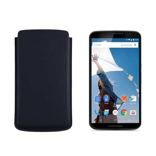 Sleeve for Motorola Nexus 6 - Navy Blue - Smooth Leather